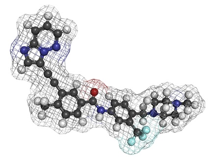 Ponatinib leukemia drug, molecular model. Ponatinib is approved for the treatment of chronic myelogenous leukemia. Stock Photo - 17817674