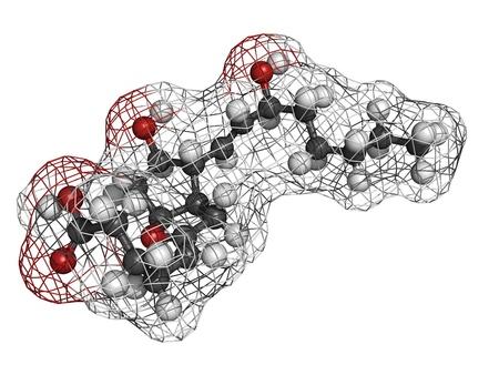 activation: Prostaglandin I2 (PGI2, epoprostenol) pulmonary hypertension drug, molecular model. PGI2 is an eicosanoid drug that inhibits platelet activation and causes vasodilation. Stock Photo