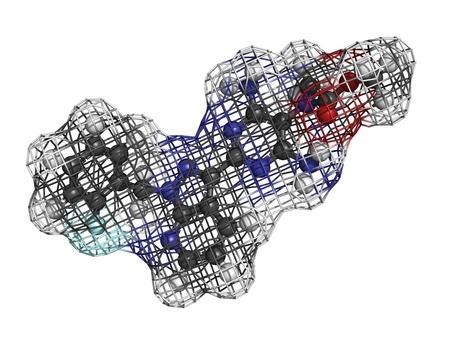 Riociguat pulmonary hypertension drug, molecular model. Stock Photo