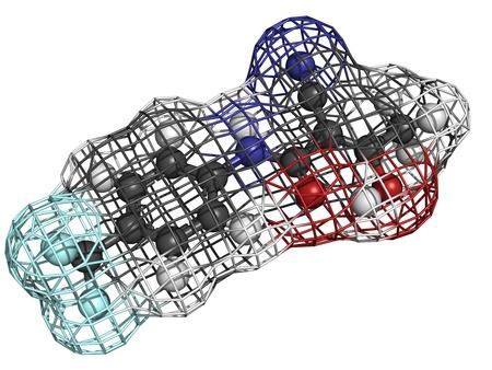 sclerosis: Teriflunomide multiple sclerosis drug, molecular model