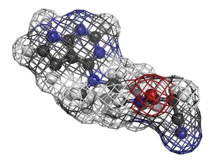 Tofacitinib rheumatoid arthritis drug, molecular model. Stock Photo - 17817673