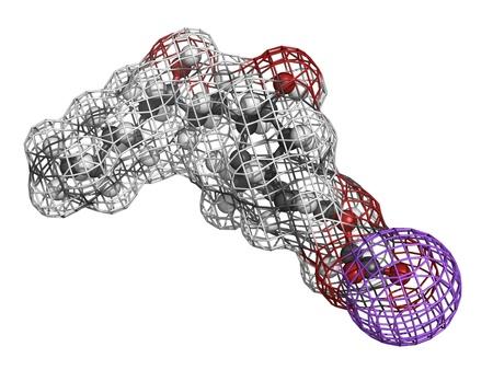 Treprostinil drug, molecular model. Treprostinil is used in the treatment of pulmonary arterial hypertension Stock Photo - 17817663