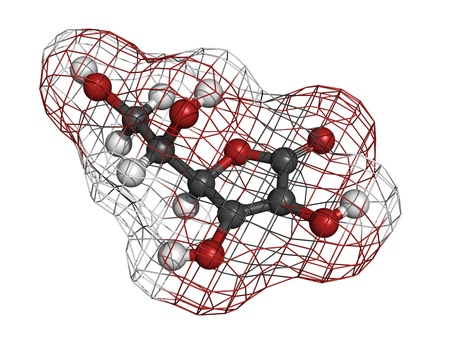 reactive: Vitamin C (ascorbic acid), molecular model. Atoms are represented as spheres with conventional color coding: hydrogen (white), carbon (grey), oxygen (red) Stock Photo