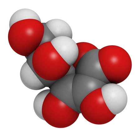 scurvy: Vitamin C (ascorbic acid), molecular model. Atoms are represented as spheres with conventional color coding: hydrogen (white), carbon (grey), oxygen (red) Stock Photo