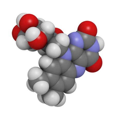 riboflavin: Vitamin B2 (riboflavin), molecular model. Atoms are represented as spheres with conventional color coding: hydrogen (white), carbon (grey), oxygen (red)