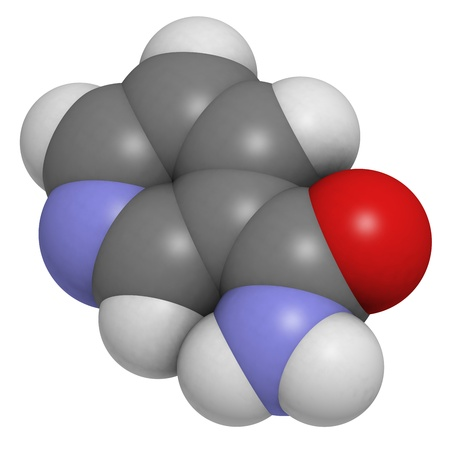 amide: Vitamin B3 (niacinamide, nicotinic acid amide), molecular model. Atoms are represented as spheres with conventional color coding: hydrogen (white), carbon (grey), oxygen (red)