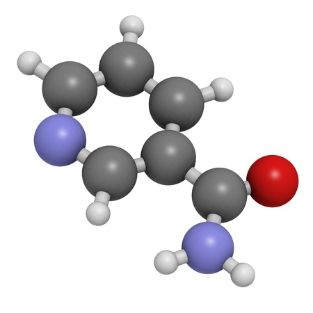 nicotinic: Vitamin B3 (niacinamide, nicotinic acid amide), molecular model. Atoms are represented as spheres with conventional color coding: hydrogen (white), carbon (grey), oxygen (red)