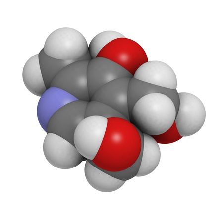 cofactor: Vitamin B6 (pyridoxine), molecular model. Atoms are represented as spheres with conventional color coding: hydrogen (white), carbon (grey), oxygen (red), nitrogen (blue) Stock Photo