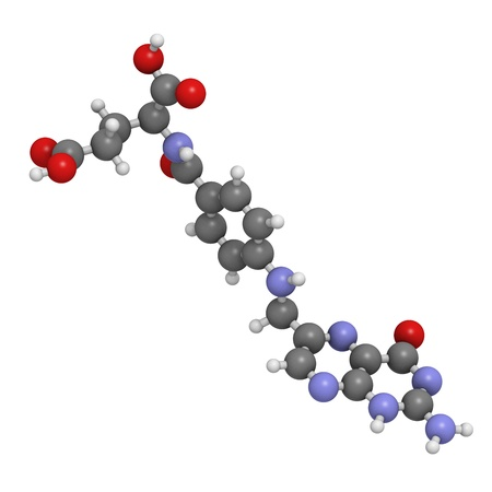 Vitamin B9 (folic acid), molecular model. Atoms are represented as spheres with conventional color coding: hydrogen (white), carbon (grey), oxygen (red), nitrogen (blue) photo