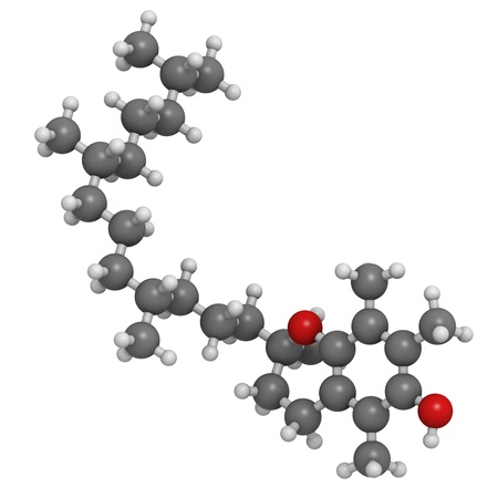 deficiency: Vitamin E (alpha-tocopherol), molecular model. Atoms are represented as spheres with conventional color coding: hydrogen (white), carbon (grey), oxygen (red) Stock Photo