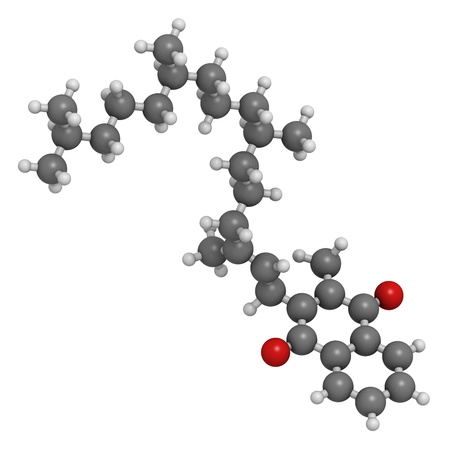 glutamate: Vitamin K1 (phylloquinone), molecular model. Atoms are represented as spheres with conventional color coding: hydrogen (white), carbon (grey), oxygen (red)