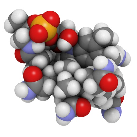 pernicious: Vitamin B12 (cyanocobalamin), molecular model. Atoms are represented as spheres with conventional color coding: hydrogen (white), carbon (grey), oxygen (red), sulfur (yellow), cobalt (pink), nitrogen (blue)