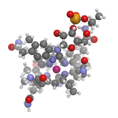 deficiency: Vitamin B12 (cyanocobalamin), molecular model. Atoms are represented as spheres with conventional color coding: hydrogen (white), carbon (grey), oxygen (red), sulfur (yellow), cobalt (pink), nitrogen (blue)