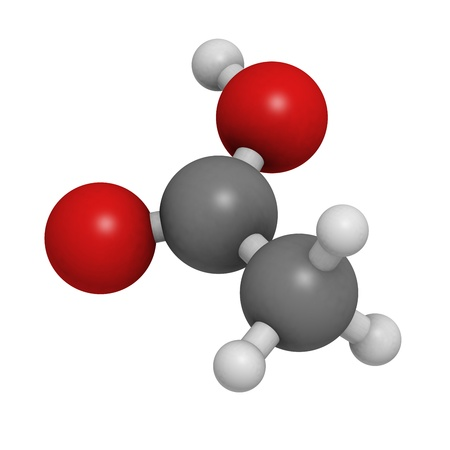 acidity: Acetic acid (HOAc) molecule, chemical structure. Atoms are represented as spheres with conventional color coding: hydrogen (white), carbon (grey), oxygen (red)
