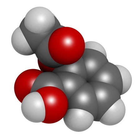 anticoagulant: Acetylsalicylic acid (aspirin) pain relief drug molecule, molecular model. Aspirin is a drug that is used for its pain relieving, fever reducing and anti-inflammatory properties. Atoms are represented as spheres with conventional color coding: hydrogen (w Stock Photo