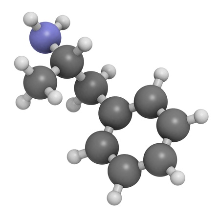 amphetamine: Amphetamine stimulant molecule, chemical structure. Atoms are represented as spheres with conventional color coding: hydrogen (white), carbon (grey), nitrogen (blue)