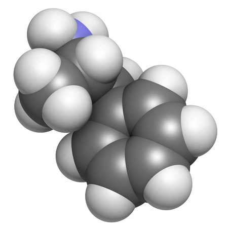 Amphetamine stimulant molecule, chemical structure. Atoms are represented as spheres with conventional color coding: hydrogen (white), carbon (grey), nitrogen (blue) Stock Photo - 18212892