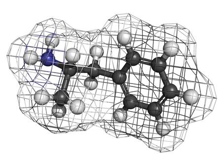 amphetamine: Mol�cula estimulante anfetamina, la estructura qu�mica. Los �tomos se representan como esferas con codificaci�n de colores convencionales: hidr�geno (blanco), el carb�n (gris), nitr�geno (azul) Foto de archivo