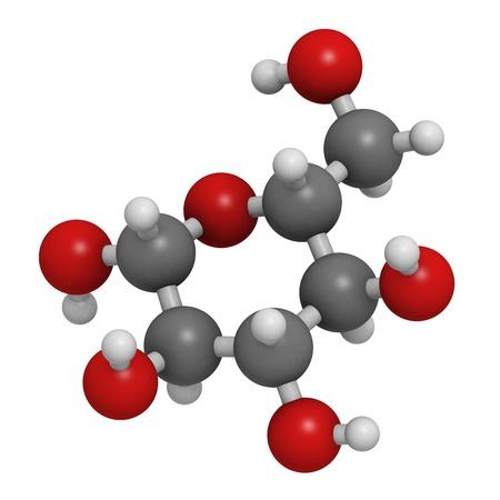Glucose (beta-D-glucose, druivensuiker, dextrose) molecule, chemische structuur. Atomen weergegeven als gebieden met conventionele kleurcodering: waterstof (wit), koolstof (grijs), zuurstof (rood) Stockfoto