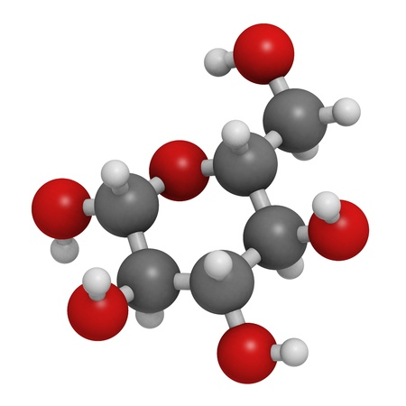 carbohydrates: Glucose (beta-D-glucose, grape sugar, dextrose) molecule, chemical structure. Atoms are represented as spheres with conventional color coding: hydrogen (white), carbon (grey), oxygen (red)