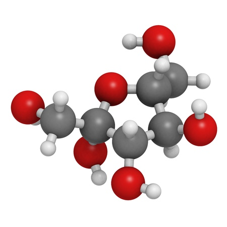 glycemic: Fructose fruit sugar molecule, chemical structure. Atoms are represented as spheres with conventional color coding: hydrogen (white), carbon (grey), oxygen (red)
