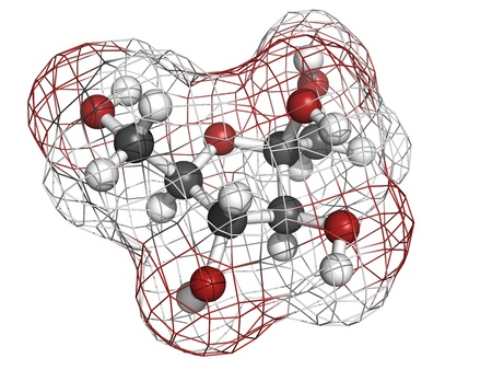 fructose: Fructose fruit sugar molecule, chemical structure. Atoms are represented as spheres with conventional color coding: hydrogen (white), carbon (grey), oxygen (red)