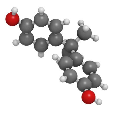 Bisphenol A (BPA)-Kunststoff Schadstoff-Molekül, die chemische Struktur. BPA ist eine Chemikalie, oft in Polycarbonat-Kunststoffen, die Östrogen stören hat Auswirkungen. Atome sind als Kugeln mit herkömmlichen Farbcodierung repräsentiert: Wasserstoff (weiß), Kohlenstoff (gr Standard-Bild - 18212849