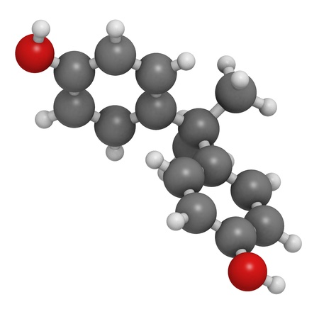 monomer: Bisphenol A (BPA) plastic pollutant molecule, chemical structure. BPA is a chemical often present in polycarbonate plastics that has estrogen disrupting effects. Atoms are represented as spheres with conventional color coding: hydrogen (white), carbon (gr
