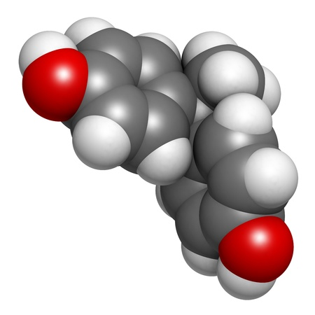 disrupting: Bisphenol A (BPA) plastic pollutant molecule, chemical structure. BPA is a chemical often present in polycarbonate plastics that has estrogen disrupting effects. Atoms are represented as spheres with conventional color coding: hydrogen (white), carbon (gr