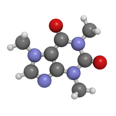 Caffeine, molecular model. Atoms are represented as spheres with conventional color coding: hydrogen (white), carbon (grey), oxygen (red), nitrogen (blue)