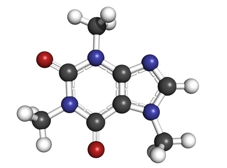 Caffeine, molecular model. Atoms are represented as spheres with conventional color coding: hydrogen (white), carbon (grey), oxygen (red), nitrogen (blue) photo