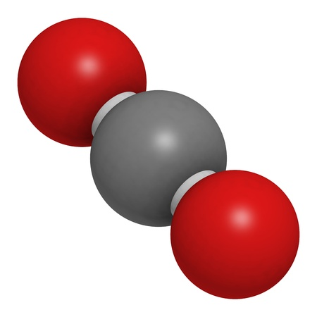 Carbon dioxide (CO2) greenhouse gas molecule, chemical structure. Atoms are represented as spheres with conventional color coding: carbon (grey), oxygen (red) Stock Photo