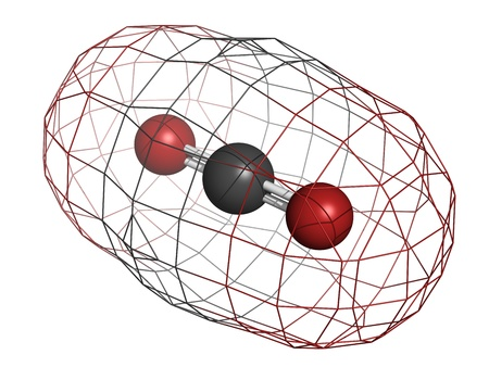 Carbon dioxide (CO2) greenhouse gas molecule, chemical structure. Atoms are represented as spheres with conventional color coding: carbon (grey), oxygen (red) photo