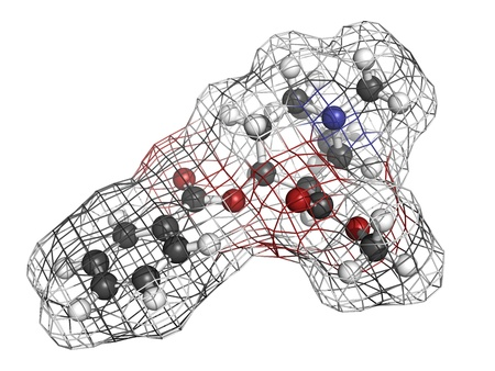 Cocaine drug, molecular model. Atoms are represented as spheres with conventional color coding: hydrogen (white), carbon (grey), oxygen (red), nitrogen (blue) Stock Photo - 18212969