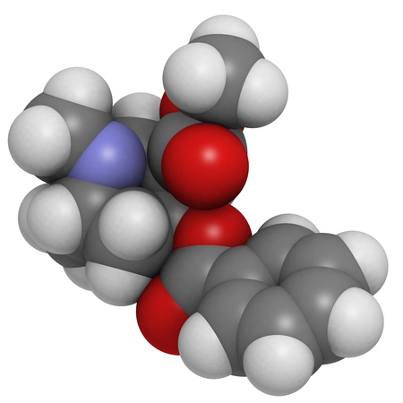 Cocaine drug, molecular model. Atoms are represented as spheres with conventional color coding: hydrogen (white), carbon (grey), oxygen (red), nitrogen (blue) Stock Photo - 18212899
