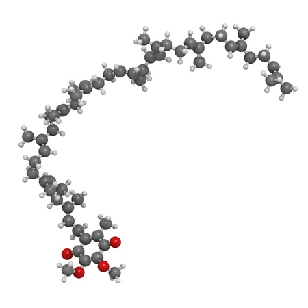 Coenzyme Q10 (ubiquinone) molecule, chemical structure. Coenzyme Q10 plays an essential role in the production of cellular energy and has antioxidant properties. Atoms are represented as spheres with conventional color coding: hydrogen (white), carbon (gr Stock Photo - 18212835