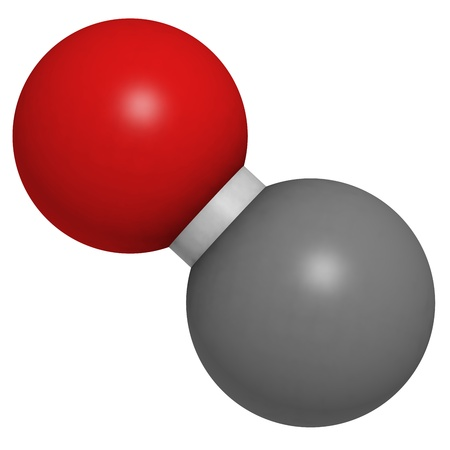 Carbon monoxide (CO) toxic gas molecule, chemical structure. CO is a highly toxic gas and CO intoxications are frequently caused by malfunctioning fuel-burning heaters. Atoms are represented as spheres with conventional color coding: carbon (grey), oxygen