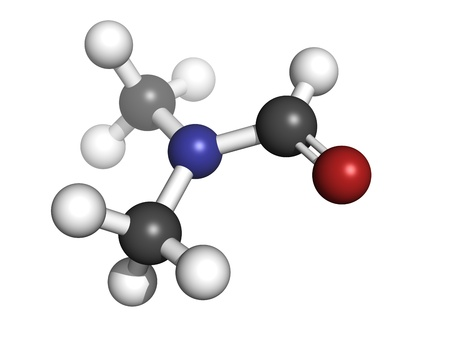 formic: dimethylformamide (DMF) solvent molecule, chemical structure. DMF is a commonly used solvent in chemistry. Atoms are represented as spheres with conventional color coding: hydrogen (white), carbon (grey), oxygen (red), nitrogen (blue)