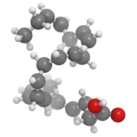 triglycerides: Omega-3 �cido graso docosahexaenoico, DHA, modelo molecular. Los �tomos se representan como esferas con codificaci�n de color convencionales: hidr�geno (blanco), carbono (gris), ox�geno (rojo)