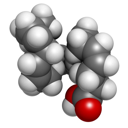 Omega-3 fatty acid docosahexaenoic acid, DHA, molecular model. Atoms are represented as spheres with conventional color coding: hydrogen (white), carbon (grey), oxygen (red) Stock Photo - 18212904