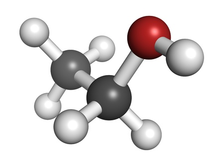 Ethanol (alcohol) molecule, chemical structure. Atoms are represented as spheres with conventional color coding: hydrogen (white), carbon (grey), oxygen (red) Stock Photo - 18212782