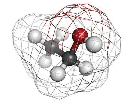 Ethanol (alcohol) molecule, chemical structure. Atoms are represented as spheres with conventional color coding: hydrogen (white), carbon (grey), oxygen (red) Stock Photo - 18212930