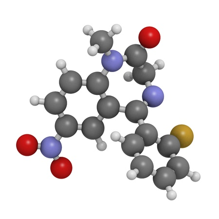 flunitrazepam benzodiazepine drug, molecular model. Atoms are represented as spheres with conventional color coding: hydrogen (white), carbon (grey), oxygen (red), nitrogen (blue), fluorine (gold) Stock Photo - 18212863