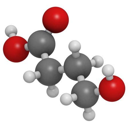 intoxicant: farmaci acido gamma-idrossibutirrico (GHB, liquid XTC), modello molecolare. Gli atomi sono rappresentati come sfere con codifica a colori convenzionali: idrogeno (bianco), il carbonio (grigio), ossigeno (rosso) Archivio Fotografico