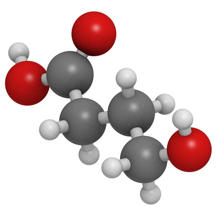 gamma-hydroxybutyric acid (GHB, liquid XTC) drug, molecular model. Atoms are represented as spheres with conventional color coding: hydrogen (white), carbon (grey), oxygen (red) Stock Photo - 18212855