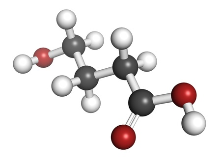 gamma-hydroxybutyric acid (GHB, liquid XTC) drug, molecular model. Atoms are represented as spheres with conventional color coding: hydrogen (white), carbon (grey), oxygen (red) Stock Photo - 18212772