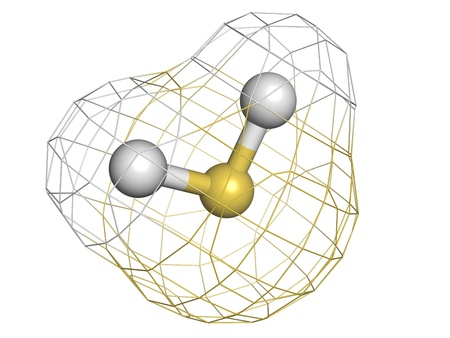 sulfide: Hydrogen sulfide (H2S) toxic gas molecule, chemical structure. H2S is a toxic gas with the odor of rotting eggs. Atoms are represented as spheres with conventional color coding: hydrogen (white), sulfur (yellow)