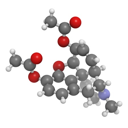 heroin (diacetylmorphine) narcotic drug, molecular model. Atoms are represented as spheres with conventional color coding: hydrogen (white), carbon (grey), oxygen (red), nitrogen (blue) photo