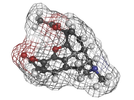 heroin (diacetylmorphine) narcotic drug, molecular model. Atoms are represented as spheres with conventional color coding: hydrogen (white), carbon (grey), oxygen (red), nitrogen (blue) Stock Photo - 18212971