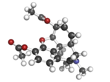 palliative: heroin (diacetylmorphine) narcotic drug, molecular model. Atoms are represented as spheres with conventional color coding: hydrogen (white), carbon (grey), oxygen (red), nitrogen (blue)